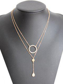 Rhinestone Circle Layered Necklace - Golden