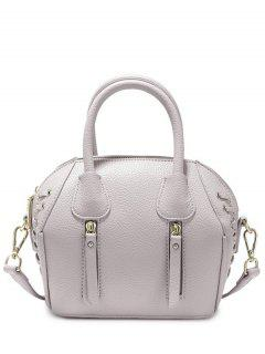 PU Leather Eyelet Zips Tote Bag - Light Gray