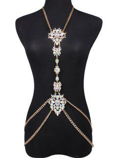 Faux Gem Water Drop Body Chain - White