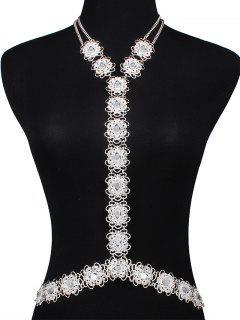 Rhinestone Filigree Flower Body Chain - Silver