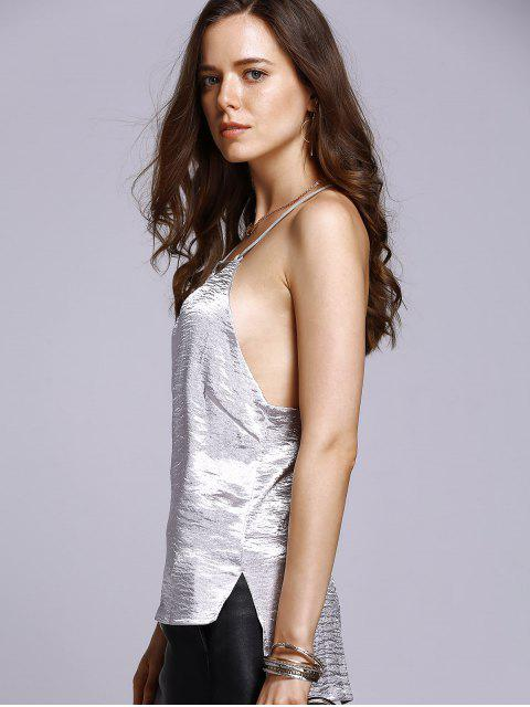 womens Solid Color High Low Cami Top - SILVER S Mobile
