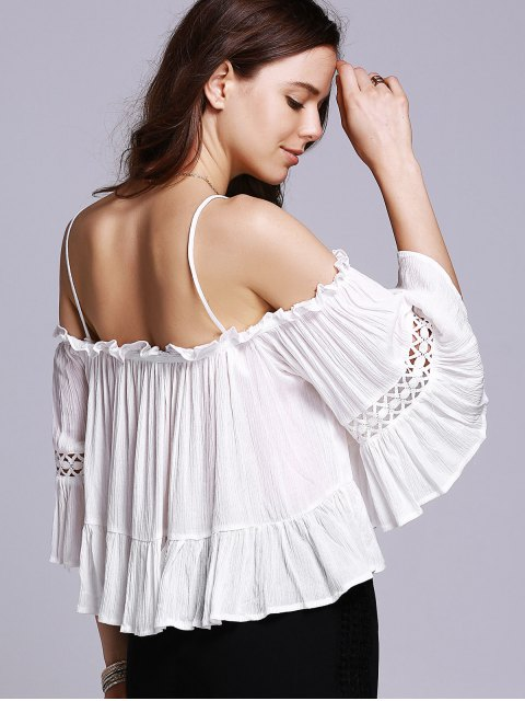 buy Cold Shoulder Cami Blouse - WHITE S Mobile