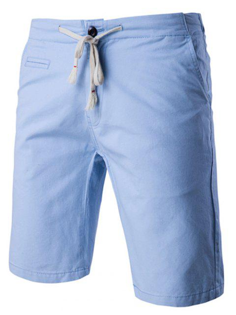 Couleur unie style Shorts Straight Leg Lace-Up For Men - Bleu Clair 2XL Mobile