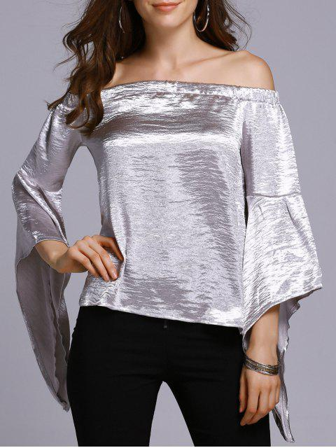 outfit Off The Shoulder Solid Color T-Shirt - SILVER M Mobile