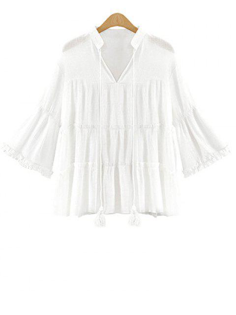 Plus Size manches cloche massif Blouse Couleur - Blanc 5XL Mobile