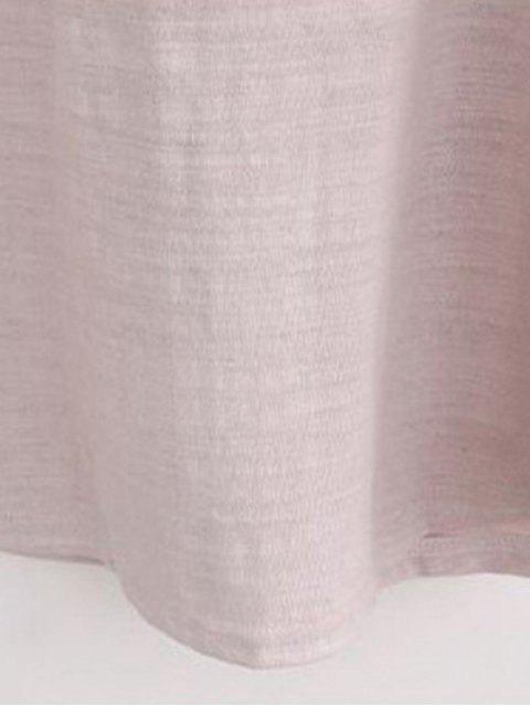 latest Sun Flower Round Neck 3/4 Sleeve Sequins T-Shirt - PALE PINKISH GREY 3XL Mobile