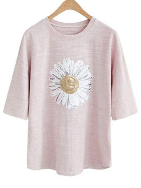 latest Sun Flower Round Neck 3/4 Sleeve Sequins T-Shirt - PALE PINKISH GREY 3XL Mobile