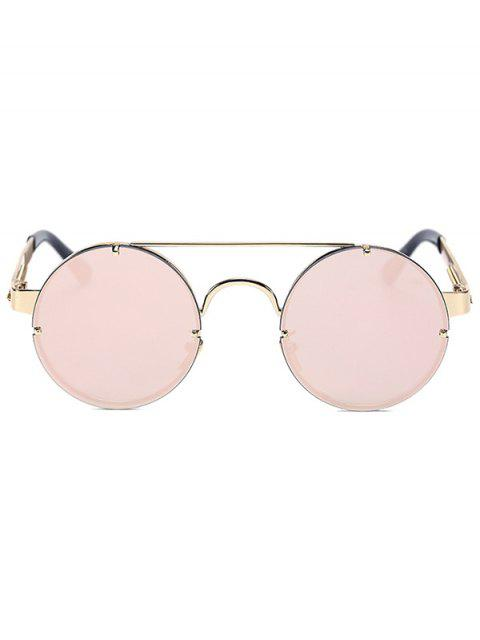 ladies Golden Crossbar Retro Round Mirrored Sunglasses - PINK  Mobile