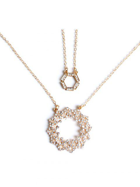 unique Rhinestone Hollowed Layered Necklace - GOLDEN  Mobile
