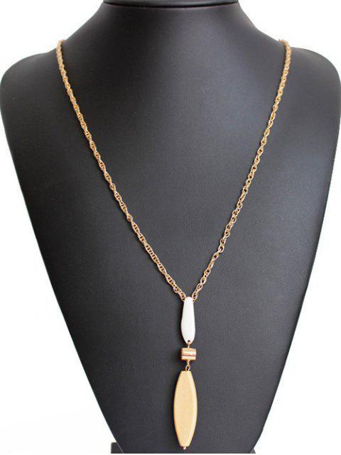 affordable Wood Leaf Long Necklace - GOLDEN  Mobile