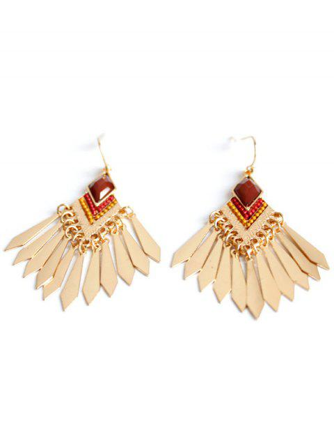 Faux Gem Fringe Boucles d'oreilles - Or  Mobile