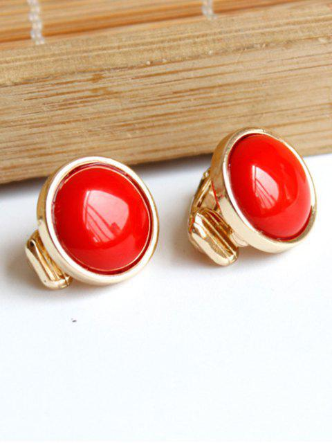 trendy Red Round Clip Earrings -   Mobile