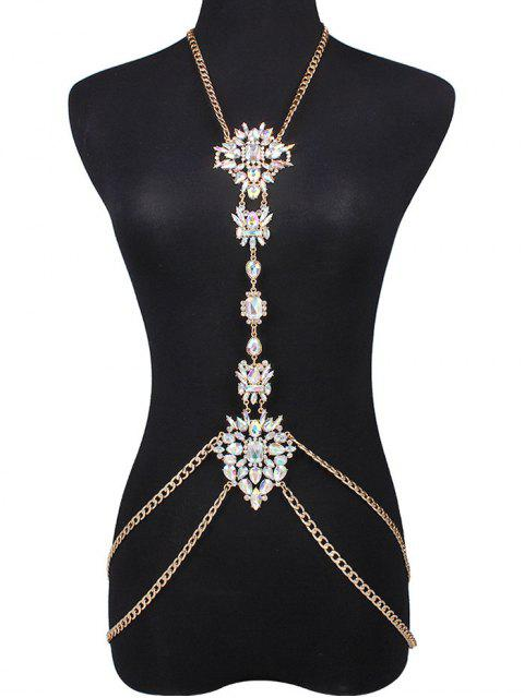 outfit Faux Gem Water Drop Body Chain - WHITE  Mobile