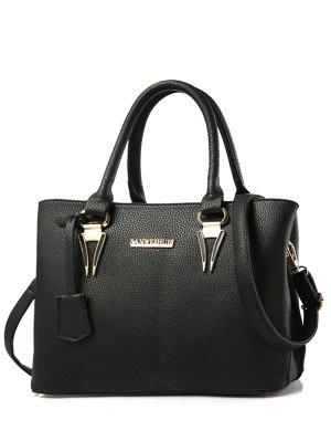 Metallic Letter PU Leather Tote Bag