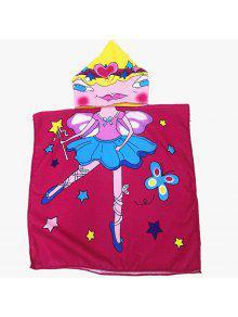 لطيف فراشة سحر فتاة شابة نمط مقنعين منشفة الشاطئ للأطفال - أحمر