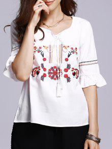 Floral Embroidery Half Sleeve Blouse - White M