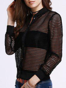 See-Through Stand Neck Long Sleeve Jacket - Black S