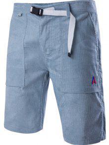 Corduroy Zipper Fly Plástico Fivela Design Do Bordado Perna Esticada Shorts Para Homens - Azul-celeste M