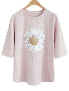 Sun Flower Round Neck 3/4 Sleeve Sequins T-Shirt - Pale Pinkish Grey 3xl