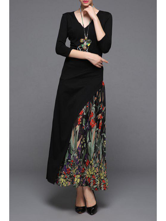 6e8b6659049 58% OFF  2019 V Neck High Waist Print Maxi Dress In BLACK