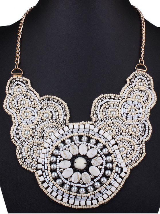 shops Beads Knitted Flower Necklace - WHITE