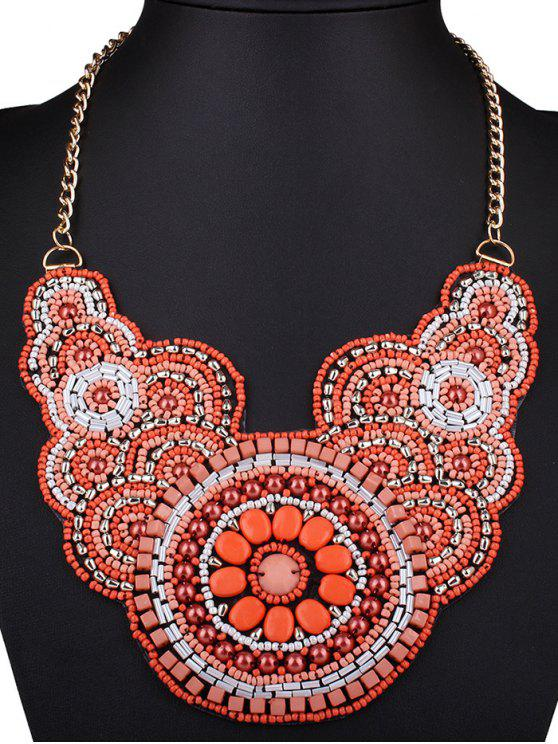latest Beads Knitted Flower Necklace - RED