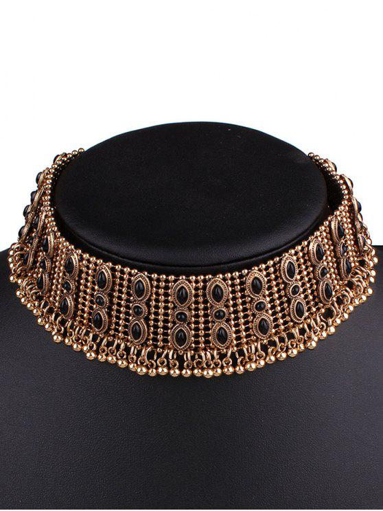 women Faux Gem Fringe Chokers Necklace - GOLDEN