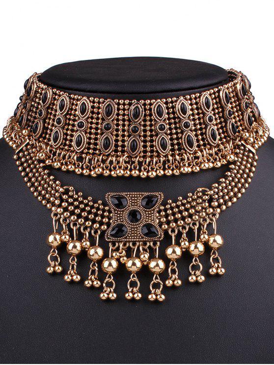 ladies Fringe Statement Chokers Necklace - GOLDEN