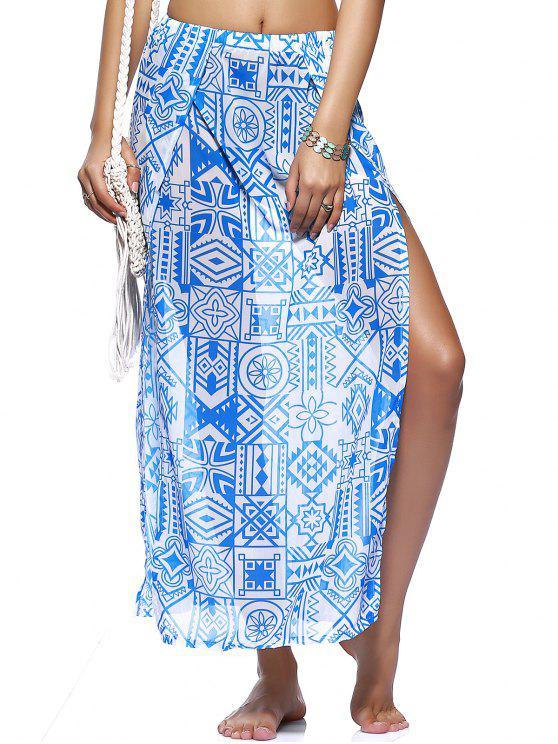 outfit Chiffon Flowy Slit Skirt - BLUE L
