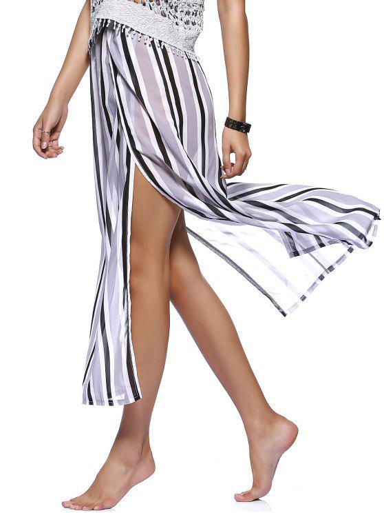 shop Striped Flowy Slit Dress - COLORMIX M