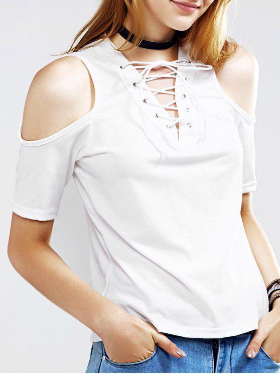 unique Cutout Lace Up T-Shirt - WHITE S