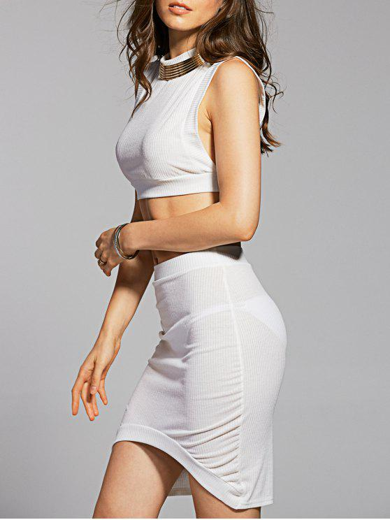 trendy Fitted Crop Top and Skirt - WHITE S