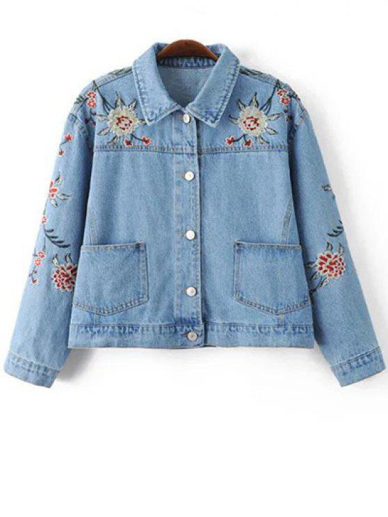 chic Embroidered Denim Jacket - BLUE M