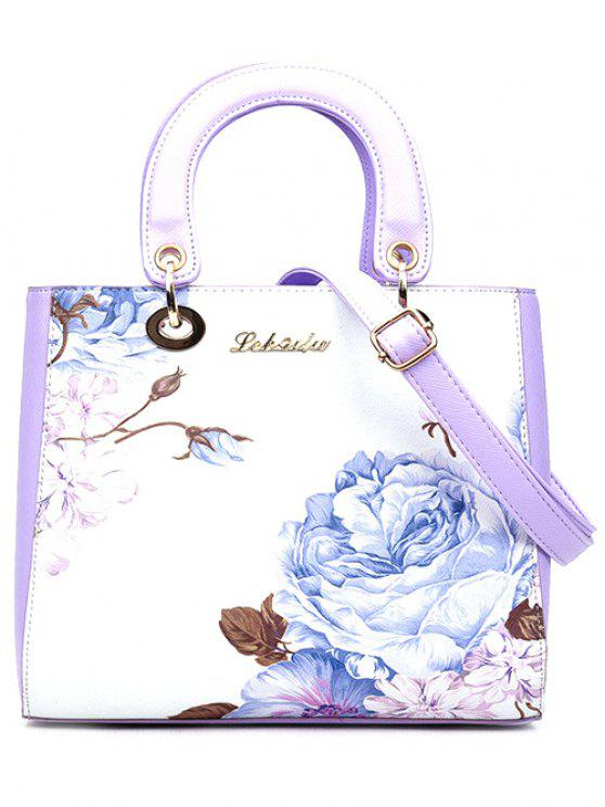 women Flower Printed PU Leather Tote Bag - PURPLE
