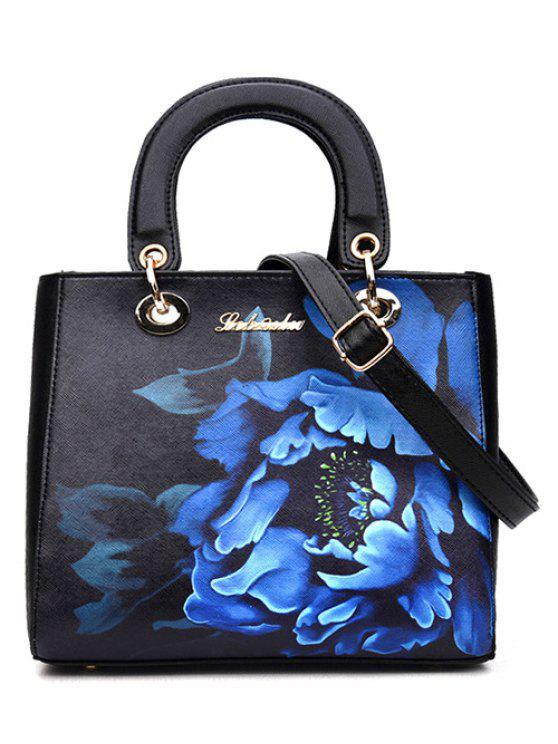 lady Flower Printed PU Leather Tote Bag - BLACK