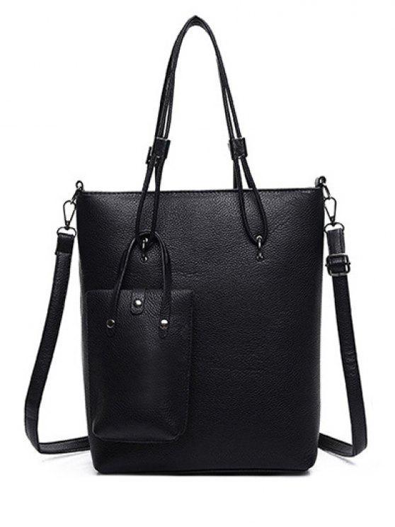 trendy Metallic Solid Color Shoulder Bag - BLACK
