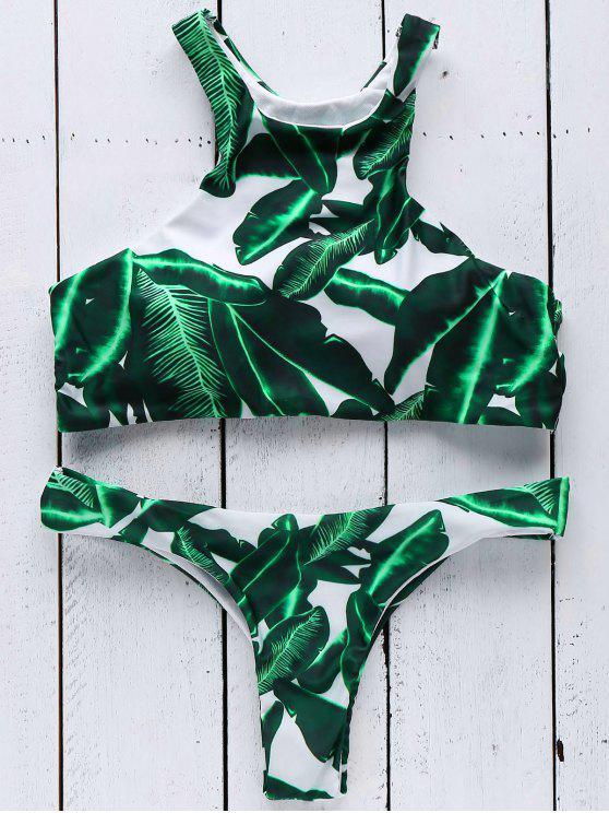 outfits Leaves Print Round Neck Bikini Set - GREEN S