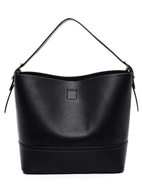 PU Leather Buckle cor sólida Sacola - Preto