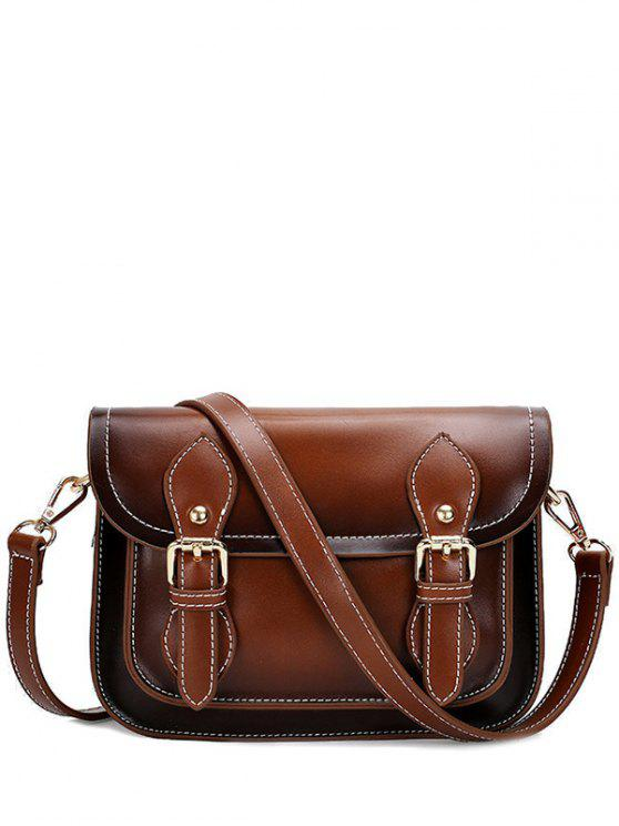 affordable Double Buckles Stitching PU Leather Crossbody Bag - BROWN