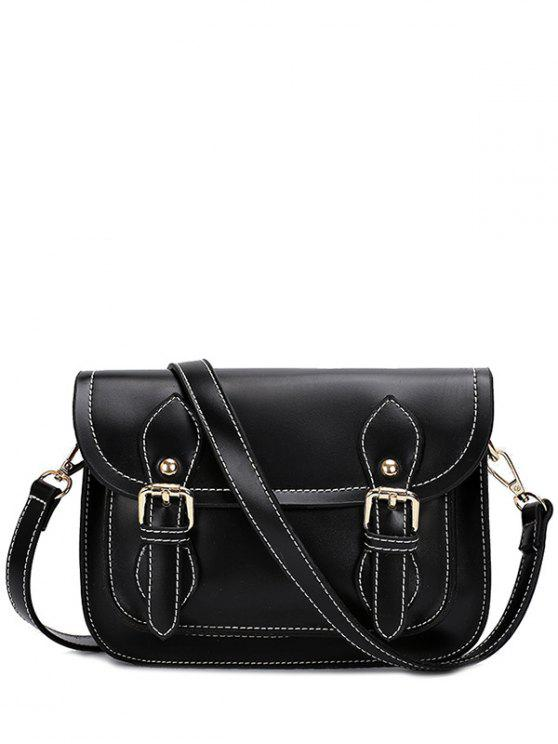womens Double Buckles Stitching PU Leather Crossbody Bag - BLACK