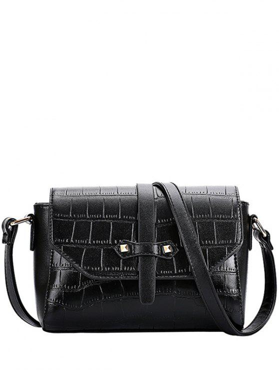 women's Crocodile Pattern PU Leather Crossbody Bag - BLACK