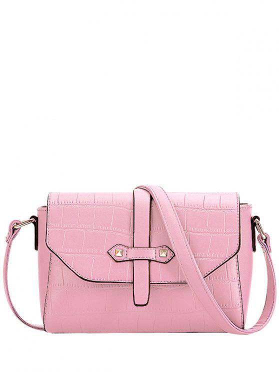 lady Crocodile Pattern PU Leather Crossbody Bag - PINK