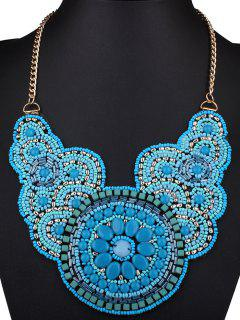 Beads Knitted Flower Necklace - Blue