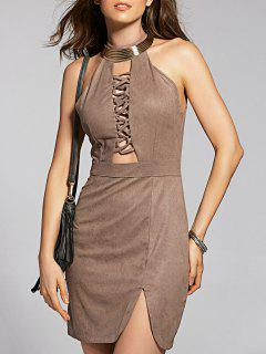 Suede Mini Semi Formal Dress - Brown Xl