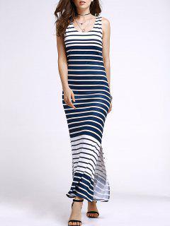 Stripe U Neck Maxi Sundress - Sapphire Blue S