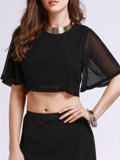 Solid Color Round Neck Cropped Blouse - Black M