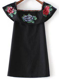 Floral Embroidered Off Shoulder Dress - Black S