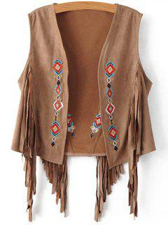 Fringed Short Suede Waistcoat - Brown S