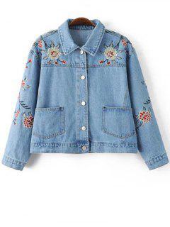 Embroidered Denim Jacket - Blue S