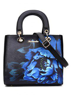 Flower Printed PU Leather Tote Bag - Black